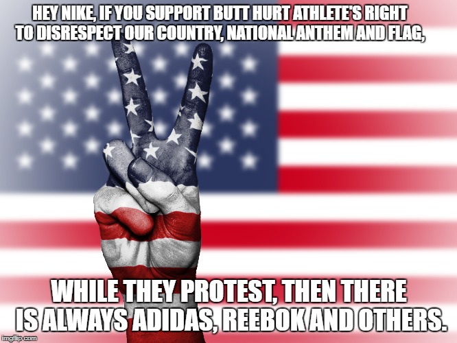 Patriotic | HEY NIKE, IF YOU SUPPORT BUTT HURT ATHLETE'S RIGHT TO DISRESPECT OUR COUNTRY, NATIONAL ANTHEM AND FLAG, WHILE THEY PROTEST, THEN THERE IS AL | image tagged in us flag | made w/ Imgflip meme maker