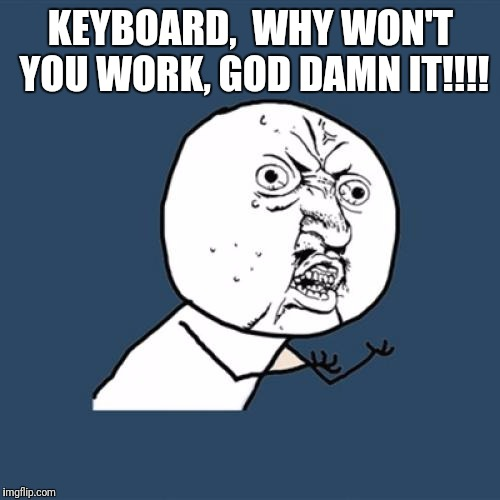 Y U No Meme | KEYBOARD,  WHY WON'T YOU WORK, GO***AMN IT!!!! | image tagged in memes,y u no | made w/ Imgflip meme maker