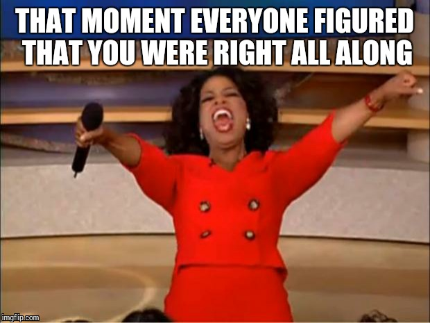 Oprah You Get A Meme | THAT MOMENT EVERYONE FIGURED THAT YOU WERE RIGHT ALL ALONG | image tagged in memes,oprah you get a | made w/ Imgflip meme maker