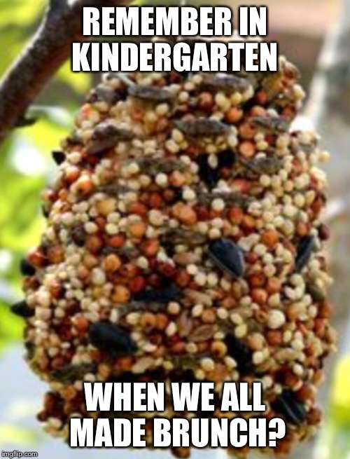 Peanut butter pinecone | REMEMBER IN KINDERGARTEN WHEN WE ALL MADE BRUNCH? | image tagged in peanut butter | made w/ Imgflip meme maker