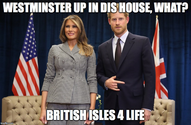 Royal Thug | WESTMINSTER UP IN DIS HOUSE, WHAT? BRITISH ISLES 4 LIFE | image tagged in melania trump,prince harry | made w/ Imgflip meme maker