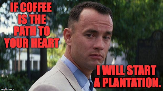 IF COFFEE IS THE PATH TO YOUR HEART I WILL START A PLANTATION. | made w/ Imgflip meme maker