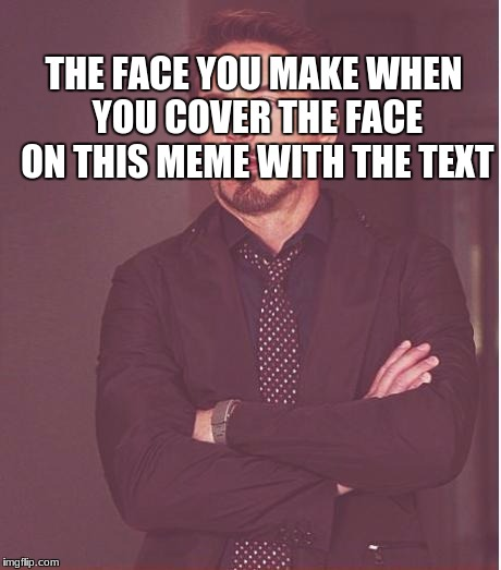 Face You Make Robert Downey Jr Meme | THE FACE YOU MAKE WHEN YOU COVER THE FACE ON THIS MEME WITH THE TEXT | image tagged in memes,face you make robert downey jr | made w/ Imgflip meme maker