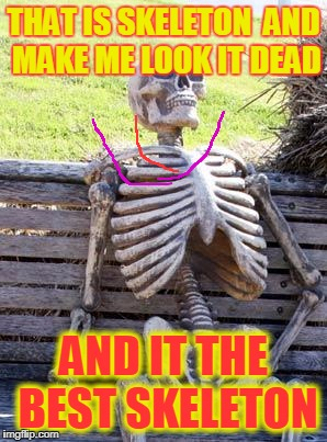Waiting Skeleton Meme | THAT IS SKELETON  AND MAKE ME LOOK IT DEAD AND IT THE BEST SKELETON | image tagged in memes,waiting skeleton | made w/ Imgflip meme maker