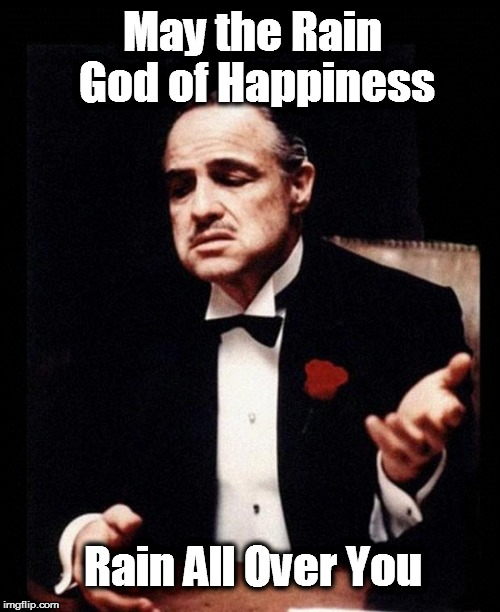 godfather | May the Rain God of Happiness Rain All Over You | image tagged in godfather | made w/ Imgflip meme maker