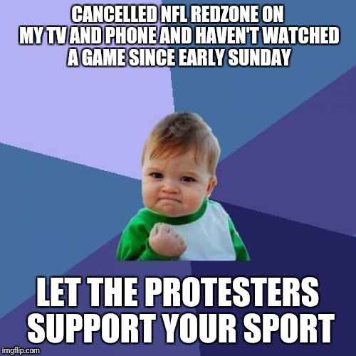 Success Kid Meme | CANCELLED NFL REDZONE ON MY TV AND PHONE AND HAVEN'T WATCHED A GAME SINCE EARLY SUNDAY LET THE PROTESTERS SUPPORT YOUR SPORT | image tagged in memes,success kid | made w/ Imgflip meme maker