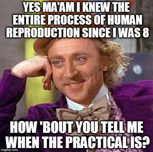Creepy Condescending Wonka Meme | YES MA'AM I KNEW THE ENTIRE PROCESS OF HUMAN REPRODUCTION SINCE I WAS 8 HOW 'BOUT YOU TELL ME WHEN THE PRACTICAL IS? | image tagged in memes,creepy condescending wonka | made w/ Imgflip meme maker