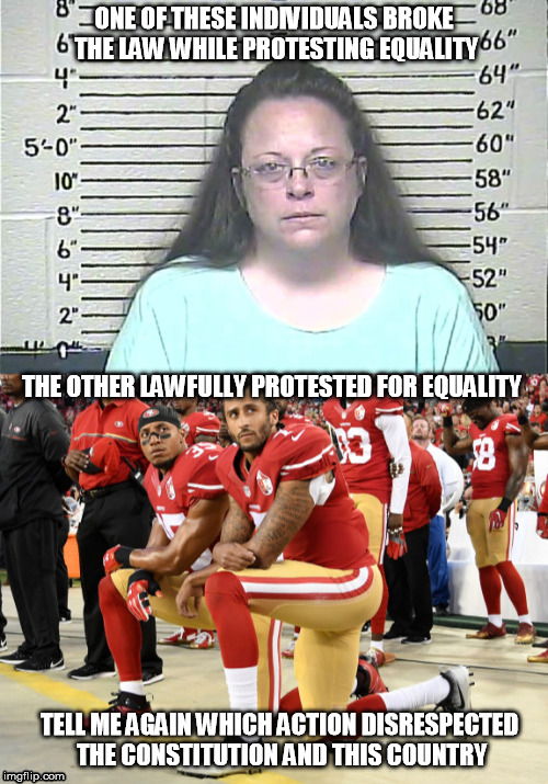 ONE OF THESE INDIVIDUALS BROKE THE LAW WHILE PROTESTING EQUALITY THE OTHER LAWFULLY PROTESTED FOR EQUALITY TELL ME AGAIN WHICH ACTION DISRES | image tagged in colin kaepernick,equality | made w/ Imgflip meme maker