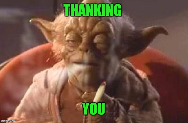 Stoner yoda | THANKING YOU | image tagged in stoner yoda | made w/ Imgflip meme maker
