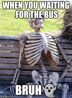 Waiting Skeleton Meme | WHEN YOU WAITING FOR THE BUS BRUH | image tagged in memes,waiting skeleton | made w/ Imgflip meme maker