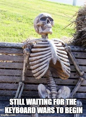 Waiting Skeleton Meme | STILL WAITING FOR THE KEYBOARD WARS TO BEGIN | image tagged in memes,waiting skeleton | made w/ Imgflip meme maker