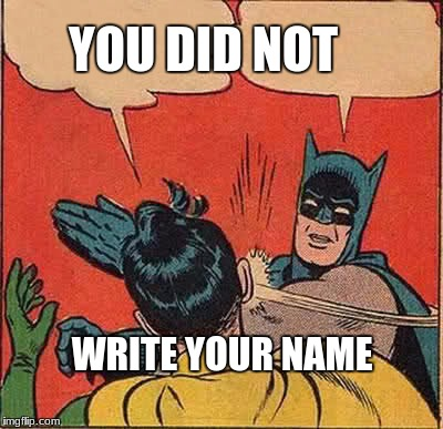Batman Slapping Robin Meme | YOU DID NOT WRITE YOUR NAME | image tagged in memes,batman slapping robin | made w/ Imgflip meme maker