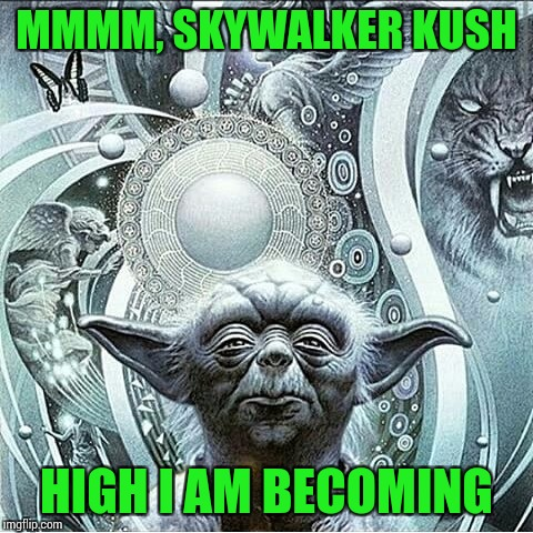 Star Wars Episode X: A New Hempire | MMMM, SKYWALKER KUSH HIGH I AM BECOMING | image tagged in memes,yoda stoned,medical marijuana,cannabis,420 | made w/ Imgflip meme maker