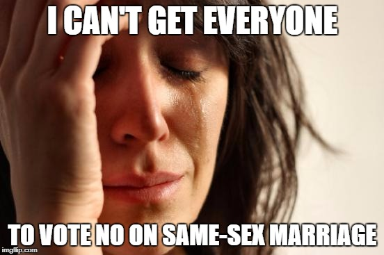 The Church be like | I CAN'T GET EVERYONE TO VOTE NO ON SAME-SEX MARRIAGE | image tagged in memes,first world problems | made w/ Imgflip meme maker