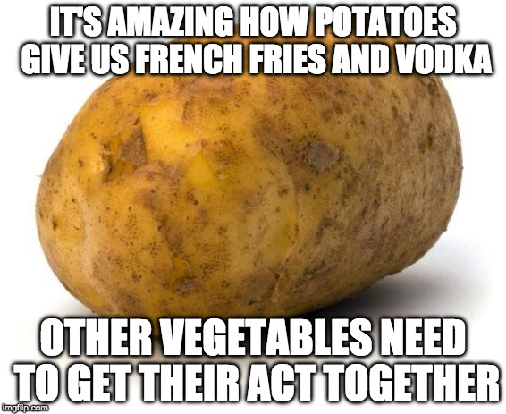 Add bacon. |  IT'S AMAZING HOW POTATOES GIVE US FRENCH FRIES AND VODKA; OTHER VEGETABLES NEED TO GET THEIR ACT TOGETHER | image tagged in i am a potato,bacon,iwanttobebacon,vodka,french fries | made w/ Imgflip meme maker