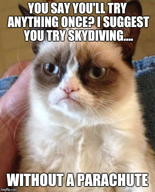 Grumpy Cat Meme | YOU SAY YOU'LL TRY ANYTHING ONCE? I SUGGEST YOU TRY SKYDIVING.... WITHOUT A PARACHUTE | image tagged in memes,grumpy cat | made w/ Imgflip meme maker
