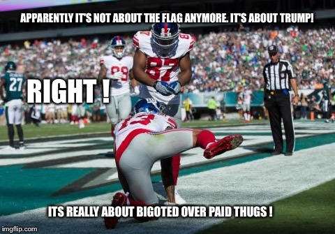 Boycott nfl | APPARENTLY IT'S NOT ABOUT THE FLAG ANYMORE. IT'S ABOUT TRUMP! ITS REALLY ABOUT BIGOTED OVER PAID THUGS ! RIGHT ! | image tagged in nfl,bigoted,thugs,player,hiking leg | made w/ Imgflip meme maker