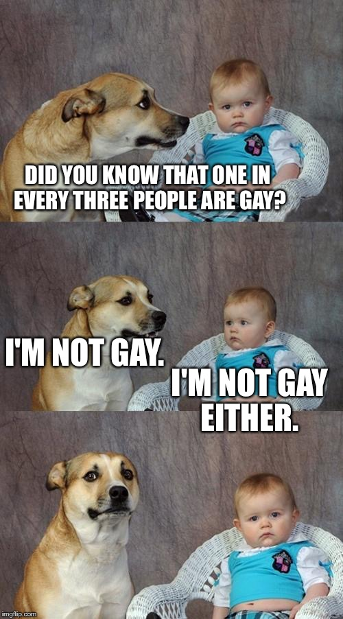 Dad Joke Dog Meme | DID YOU KNOW THAT ONE IN EVERY THREE PEOPLE ARE GAY? I'M NOT GAY. I'M NOT GAY EITHER. | image tagged in memes | made w/ Imgflip meme maker