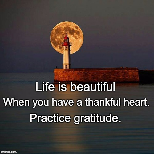 Feeling gratitude and not expressing it is like wrapping a prese | Life is beautiful Practice gratitude. When you have a thankful heart. | image tagged in feeling gratitude and not expressing it is like wrapping a prese | made w/ Imgflip meme maker