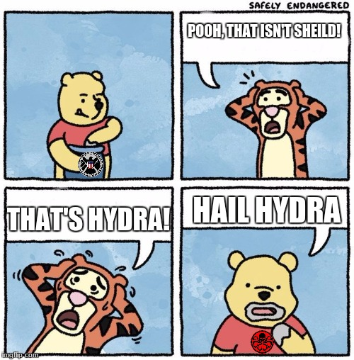 sweet jesus pooh you're not eating honey | POOH, THAT ISN'T SHEILD! THAT'S HYDRA! HAIL HYDRA | image tagged in sweet jesus pooh you're not eating honey | made w/ Imgflip meme maker