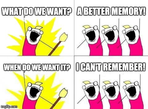What Do We Want Meme | WHAT DO WE WANT? A BETTER MEMORY! WHEN DO WE WANT IT? I CAN'T REMEMBER! | image tagged in memes,what do we want | made w/ Imgflip meme maker