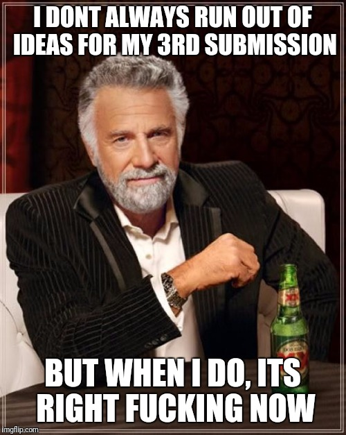 The Most Interesting Man In The World Meme | I DONT ALWAYS RUN OUT OF IDEAS FOR MY 3RD SUBMISSION BUT WHEN I DO, ITS RIGHT F**KING NOW | image tagged in memes,the most interesting man in the world | made w/ Imgflip meme maker
