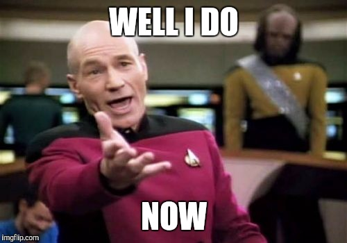Picard Wtf Meme | WELL I DO NOW | image tagged in memes,picard wtf | made w/ Imgflip meme maker