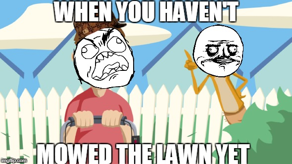 Ratey the Me Gusta Cat | WHEN YOU HAVEN'T MOWED THE LAWN YET | image tagged in memes | made w/ Imgflip meme maker