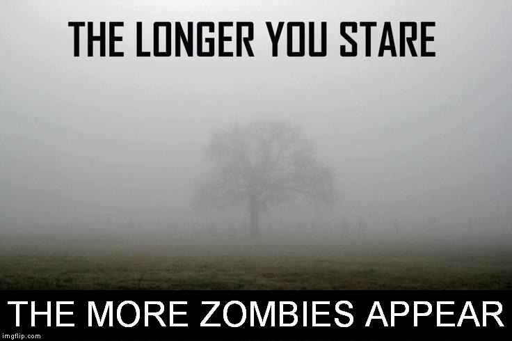 Can you see them? | THE MORE ZOMBIES APPEAR | image tagged in optical illusion,zombies | made w/ Imgflip meme maker