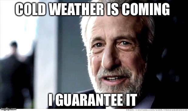 When you're out of ideas for your second submission of the day | COLD WEATHER IS COMING I GUARANTEE IT | image tagged in memes,i guarantee it,cold weather,winter is coming | made w/ Imgflip meme maker