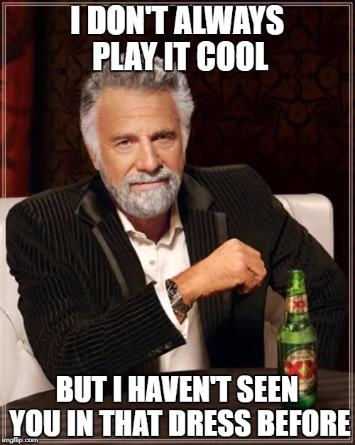 The Most Interesting Man In The World Meme | I DON'T ALWAYS PLAY IT COOL BUT I HAVEN'T SEEN YOU IN THAT DRESS BEFORE | image tagged in memes,the most interesting man in the world | made w/ Imgflip meme maker