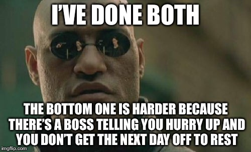 Matrix Morpheus Meme | I'VE DONE BOTH THE BOTTOM ONE IS HARDER BECAUSE THERE'S A BOSS TELLING YOU HURRY UP AND YOU DON'T GET THE NEXT DAY OFF TO REST | image tagged in memes,matrix morpheus | made w/ Imgflip meme maker