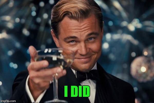 Leonardo Dicaprio Cheers Meme | I DID | image tagged in memes,leonardo dicaprio cheers | made w/ Imgflip meme maker