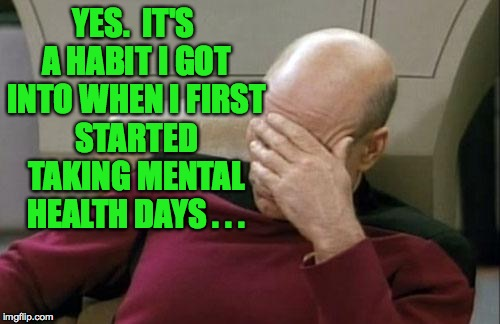 Captain Picard Facepalm Meme | YES.  IT'S A HABIT I GOT INTO WHEN I FIRST STARTED TAKING MENTAL HEALTH DAYS . . . | image tagged in memes,captain picard facepalm | made w/ Imgflip meme maker