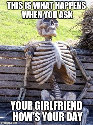 Waiting Skeleton Meme | THIS IS WHAT HAPPENS WHEN YOU ASK YOUR GIRLFRIEND HOW'S YOUR DAY | image tagged in memes,waiting skeleton | made w/ Imgflip meme maker