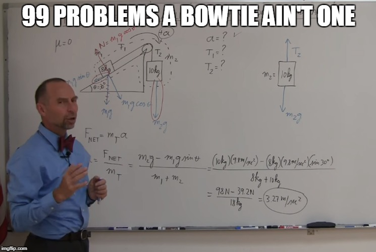 Bowtie | 99 PROBLEMS A BOWTIE AIN'T ONE | image tagged in michel van biezen,physics,school,college,bowtie | made w/ Imgflip meme maker
