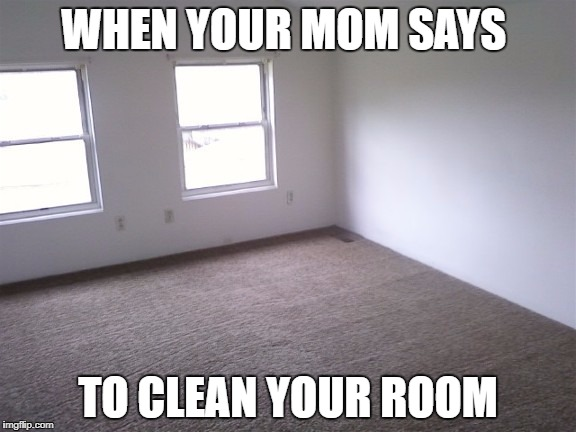 WHEN YOUR MOM SAYS TO CLEAN YOUR ROOM | image tagged in clean room | made w/ Imgflip meme maker