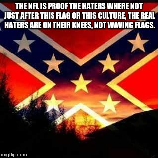 rebel flag | THE NFL IS PROOF THE HATERS WHERE NOT JUST AFTER THIS FLAG OR THIS CULTURE, THE REAL HATERS ARE ON THEIR KNEES, NOT WAVING FLAGS. | image tagged in rebel flag | made w/ Imgflip meme maker