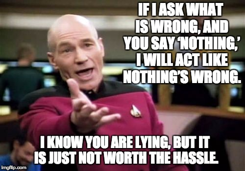 Picard Wtf | IF I ASK WHAT IS WRONG, AND YOU SAY 'NOTHING,' I WILL ACT LIKE NOTHING'S WRONG. I KNOW YOU ARE LYING, BUT IT IS JUST NOT WORTH THE HASSLE. | image tagged in memes,picard wtf | made w/ Imgflip meme maker