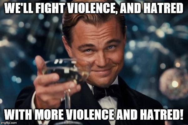 Leonardo Dicaprio Cheers Meme | WE'LL FIGHT VIOLENCE, AND HATRED WITH MORE VIOLENCE AND HATRED! | image tagged in memes,leonardo dicaprio cheers | made w/ Imgflip meme maker