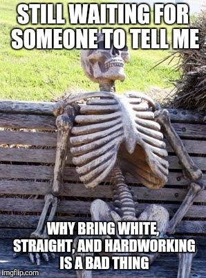 Waiting Skeleton Meme | STILL WAITING FOR SOMEONE TO TELL ME WHY BRING WHITE, STRAIGHT, AND HARDWORKING IS A BAD THING | image tagged in memes,waiting skeleton | made w/ Imgflip meme maker