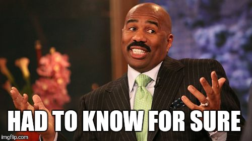 Steve Harvey Meme | HAD TO KNOW FOR SURE | image tagged in memes,steve harvey | made w/ Imgflip meme maker