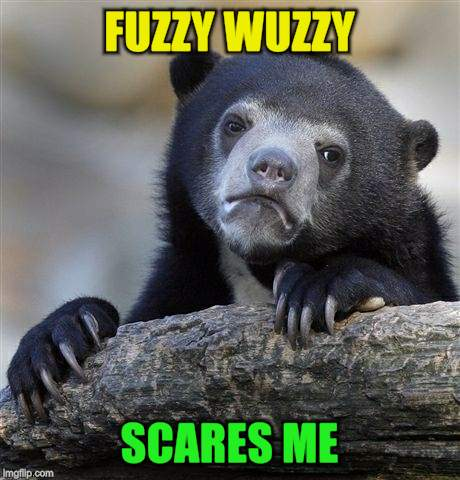 Confession Bear Meme | FUZZY WUZZY SCARES ME | image tagged in memes,confession bear | made w/ Imgflip meme maker