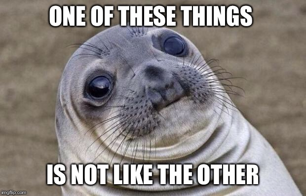 Awkward Moment Sealion Meme | ONE OF THESE THINGS IS NOT LIKE THE OTHER | image tagged in memes,awkward moment sealion | made w/ Imgflip meme maker