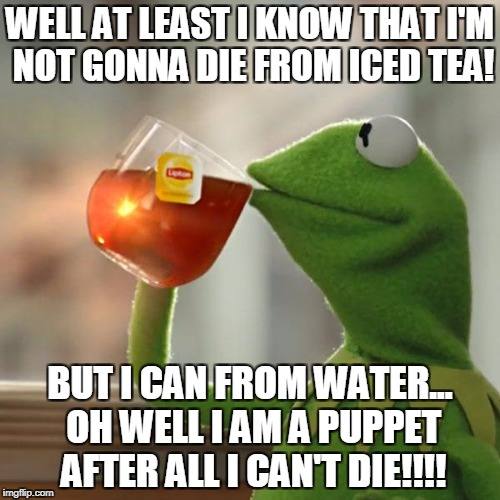 But Thats None Of My Business Meme | WELL AT LEAST I KNOW THAT I'M NOT GONNA DIE FROM ICED TEA! BUT I CAN FROM WATER... OH WELL I AM A PUPPET AFTER ALL I CAN'T DIE!!!! | image tagged in memes,but thats none of my business,kermit the frog | made w/ Imgflip meme maker