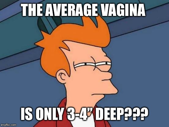"Futurama Fry Meme | THE AVERAGE VA**NA IS ONLY 3-4"" DEEP??? 