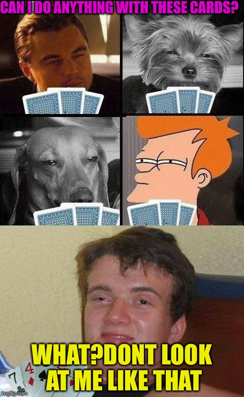 The hours you spend trying to teach someone poker | CAN I DO ANYTHING WITH THESE CARDS? WHAT?DONT LOOK AT ME LIKE THAT | image tagged in 10 guy poker,funny memes,memefams,futurama | made w/ Imgflip meme maker