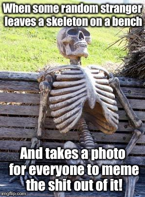 Waiting Skeleton Meme | When some random stranger leaves a skeleton on a bench And takes a photo for everyone to meme the shit out of it! | image tagged in memes,waiting skeleton,meme | made w/ Imgflip meme maker