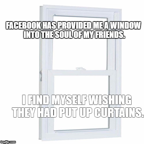 FACEBOOK HAS PROVIDED ME A WINDOW INTO THE SOUL OF MY FRIENDS. I FIND MYSELF WISHING THEY HAD PUT UP CURTAINS. | image tagged in soul,window,window to soul,facebook,tmi | made w/ Imgflip meme maker