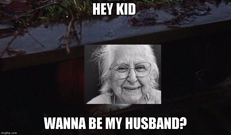 Pennywise Hey Kid | HEY KID WANNA BE MY HUSBAND? | image tagged in pennywise hey kid | made w/ Imgflip meme maker